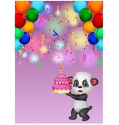 Panda holding birthday cake vector image vector image