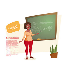 the african american teacher stands at the vector image