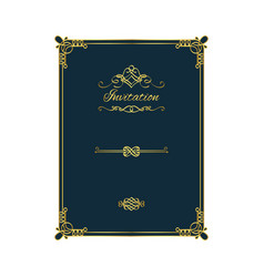 vintage golden invitation on blue background vector image