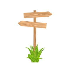 Wooden signboard for guidepost grass vector image vector image