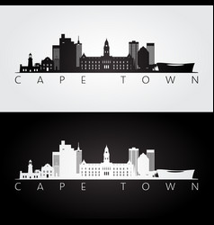 cape town skyline and landmarks silhouette vector image
