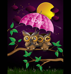 couple of owls on the branch under full moon vector image