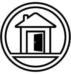 icon with house and open door vector image