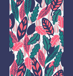 hand drawn floral seamless pattern with leaves vector image vector image