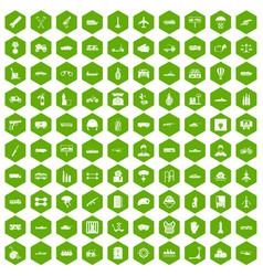 100 burden icons hexagon green vector