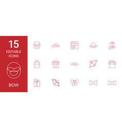 15 bow icons vector image