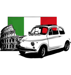 60s vintage italian car isolated on white vector image