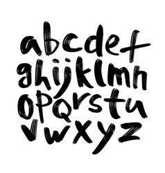 Alphabet letters black handwritten font drawn vector