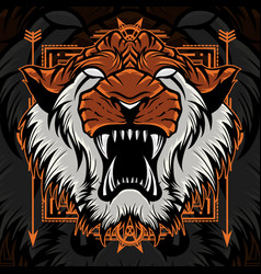 angry tiger head mascot sacred geometry vector image