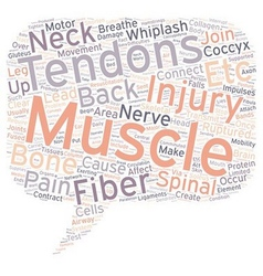 Back pain and tendons text background wordcloud vector