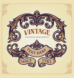 badge vintage flourish label ornaments vector image