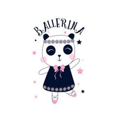 Ballet panda print design vector