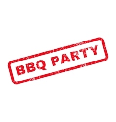 BBQ Party Text Rubber Stamp vector