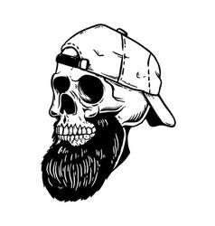 bearded skull in baseball cap design element vector image