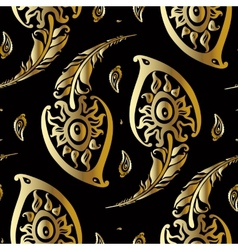 Beautiful peacock feathers Gold pattern vector