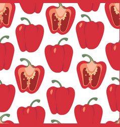 Bell pepper seamless pattern red paprika vector