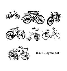 black 8-bit set of bicycle vector image