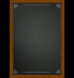 Black board in wooden frame a4 vector