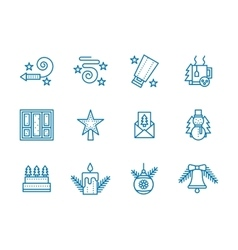 Blue line icons for Christmas vector image