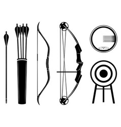 Bow set icon bow arrow vector