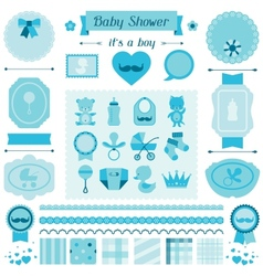 Boy bashower set elements for design vector