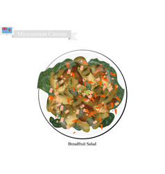 Breadfruit salad one of most famous food in micro vector