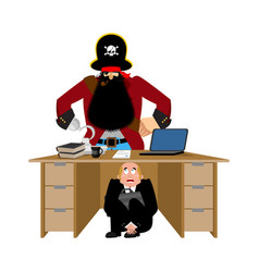 Businessman scared under table of pirate to hide vector