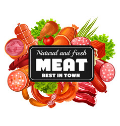 Butchery shop meat and sausages greenery vector