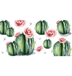 cactus and flowers pattern watercolor vector image