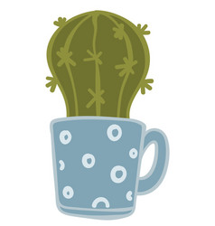 cactus plant potted in cup with handle flower vector image