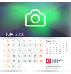 Calendar for july 2018 week starts on sunday 2 vector
