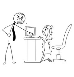 Cartoon of angry boss manager screaming vector