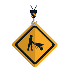 Caution diamond emblem with laborer and vector