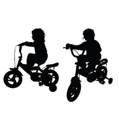 Child silhouette black with bike design vector