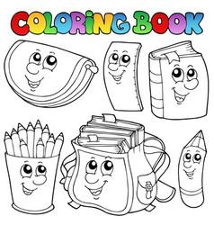 Coloring book school cartoons 1 vector