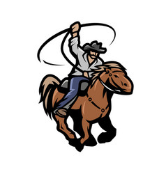 Cowboy with a lasso on a horse vector