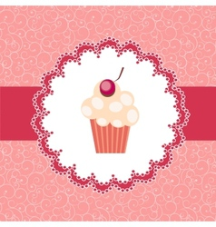 cupcake invitation background vector image