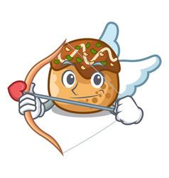 Cupid cartoon cooking takoyaki in baked fire vector