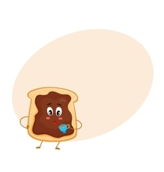 Cute and funny toast with chocolate spread vector image
