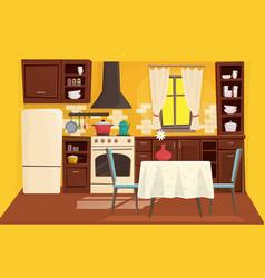 cute kitchen interior flat cartoon vector image