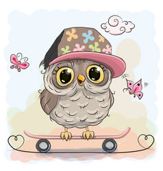 Cute owl on a skateboard vector