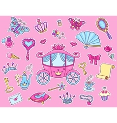 Cute princess sticker set with carriage vector