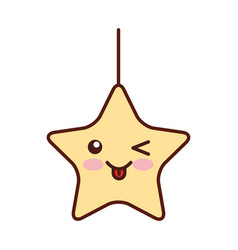 Cute star kawaii character vector
