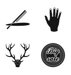 Dangerous razor hand and other web icon in black vector