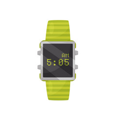 digital wrist watch with bright green bracelet and vector image