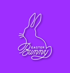 easter bunny linear lettering vector image