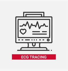 Ecg tracing - line design single isolated icon vector
