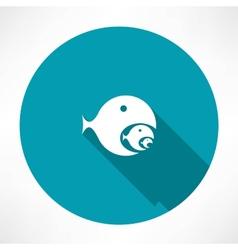 fish-eating fish icon vector image