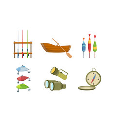 fishing sport equipment set fishing rod wooden vector image