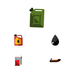 flat icon petrol set of petrol droplet jerrycan vector image
